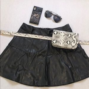 H&M Skirts - FAUX LEATHER SKATER SKIRT NEW!